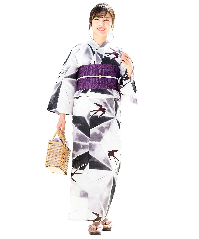 (ソウビエン) 浴衣 セット レディース 白系 灰色 紫 燕 麻の葉 綿 半幅帯 マクレ ボヌールセゾン