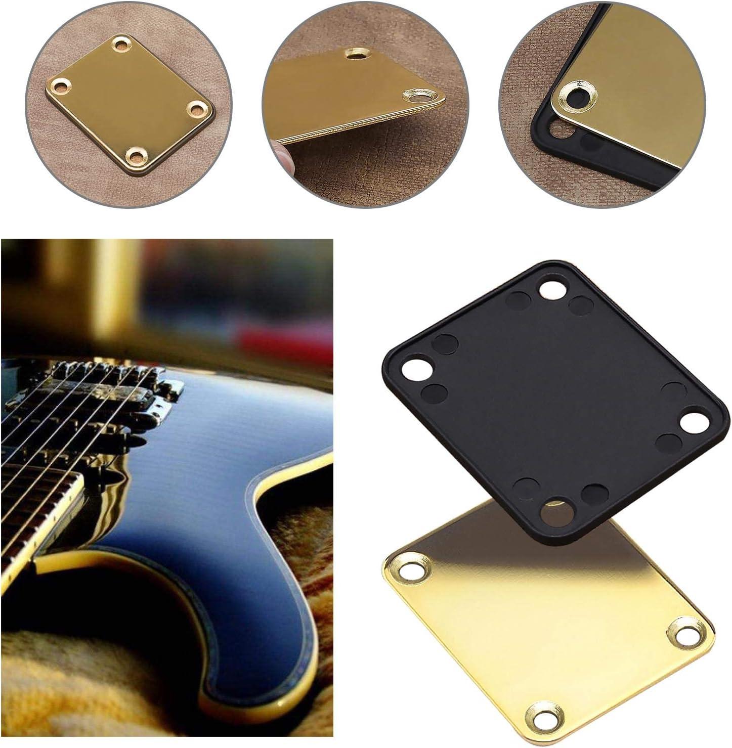 Placa para el cuello de la guitarra dorada con tornillos de montaje en la parte trasera de pl/ástico 4 agujeros compatible con Strat Tele guitarra el/éctrica bajo