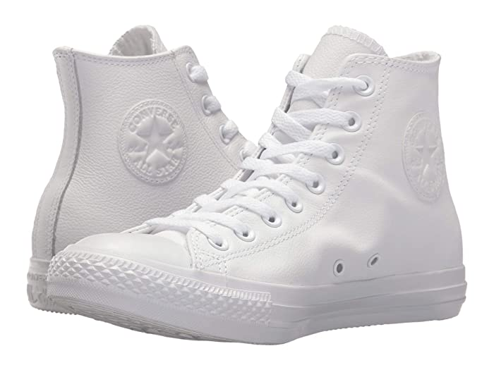 Retro Sneakers, Vintage Tennis Shoes Converse Chuck Taylorr All Starr Leather Hi White Monochrome Classic Shoes $59.95 AT vintagedancer.com