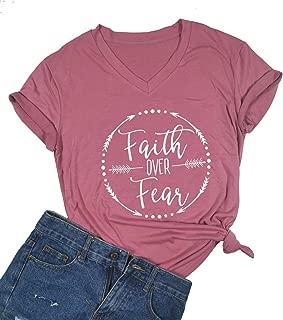 Faith Over Fear Arrow Letters Print T Shirt Women Short Sleeve V Nece Christian Tops Tee Blouse
