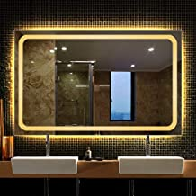 Wall-Mounted Vanity Mirrors with Lights Large/Backlit LED Lighted Makeup Mirror/Frameless Rectangular/Bedroom Home Furnitu...
