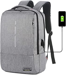 Business Travel Laptop and Tablet Backpack Water Resistan with USB Charging Port Rucksack School Bookbag for College Fits Up to 17 Inch Computer Notebook Bag for Women Men Student (Grey)