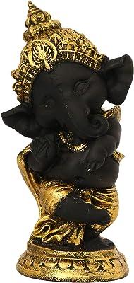 eCraftIndia Golden and Black Lord Ganesha Dancing Avatar Decorative Showpiece