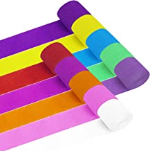 Papel Crepé 20 Rollos 10 Colores Papel Pinocho para Decoraciones de Fiesta de Cumpleaños Boda Halloween Festival 25 meter X 4.5 cm