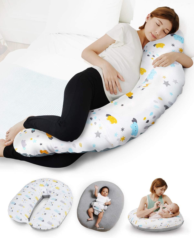 Unilove Hopo 7-in-1 Pregnancy Pillow, Breastfeeding Support & Newborn Lounger for Nursing, Sky Gray