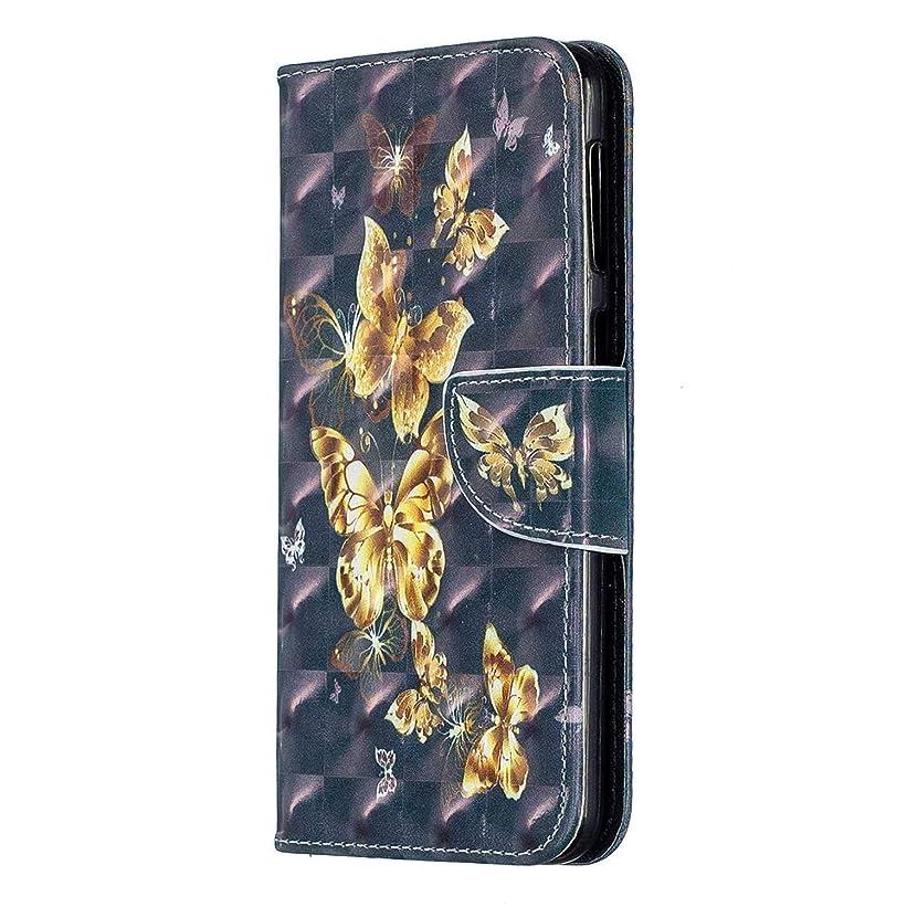 費やすファイナンス空港OMATENTI Galaxy M30 ケース, ファッション 高級感 PUレザー 手帳 電話ケース 耐衝撃性 落下防止 薄型 スマホケースザー 付きスタンド機能 そしてカード収納 Galaxy M30 用 Case Cover, バタフライ-5