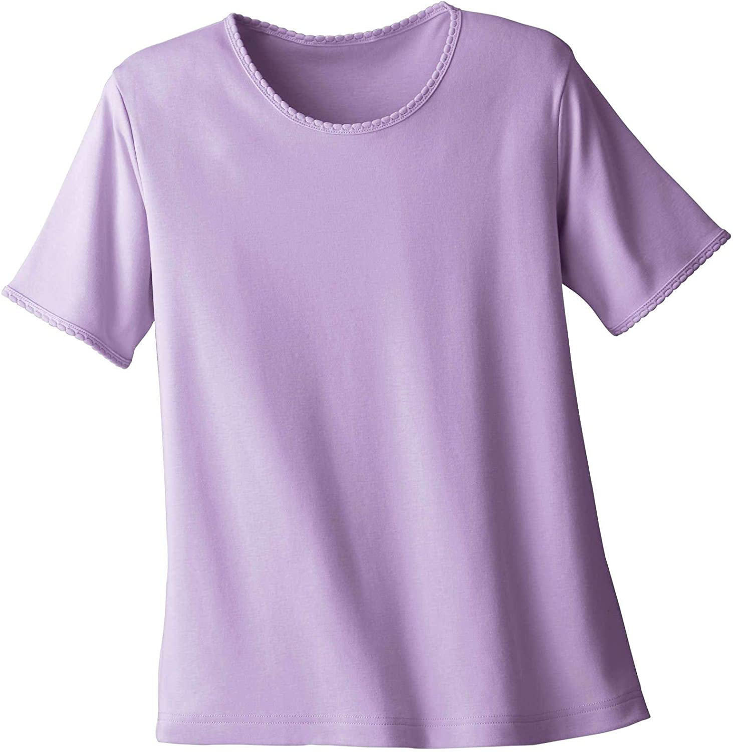 UltraSofts Knit Tee - Classic Comfort Top with Picot Trim Neckline - Exclusive UPF 50+ Knit