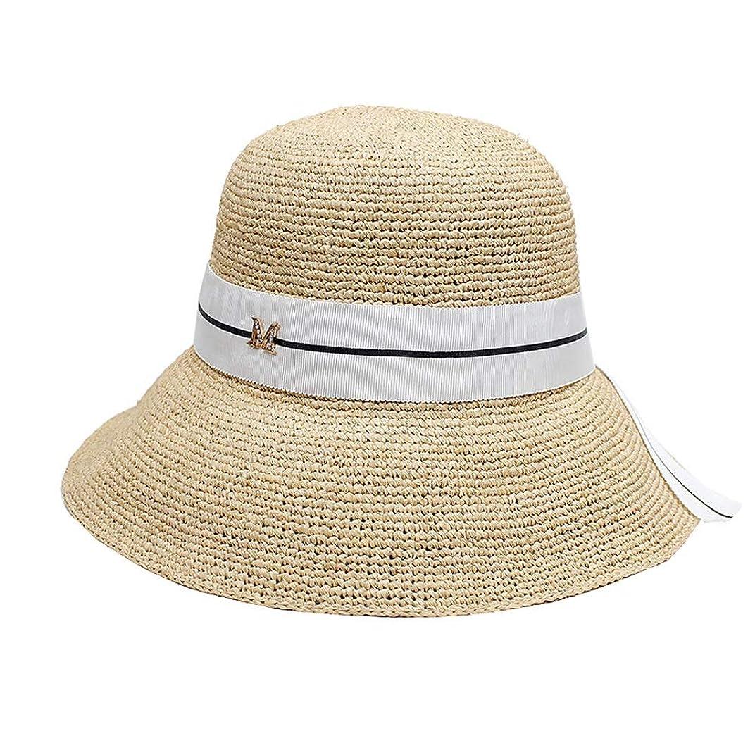 とんでもない夕暮れ立証するWen Zhe 女性の夏の韓国語バージョンLafite麦わら帽子小さな新鮮なビーチ日焼け止めバイザー大きな漁師の帽子 日よけ帽
