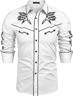 COOFANDY Mens Western Cowboy Shirt Embroidered Denim Long Sleeve Casual Button Down Shirt