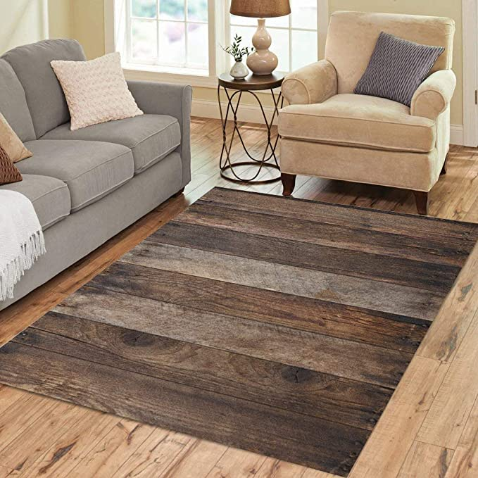 Pinbeam Area Rug Brown Rustic Wood Plank Wooden Top Table View Home Decor Floor Rug 2 X 3 Carpet Kitchen Dining