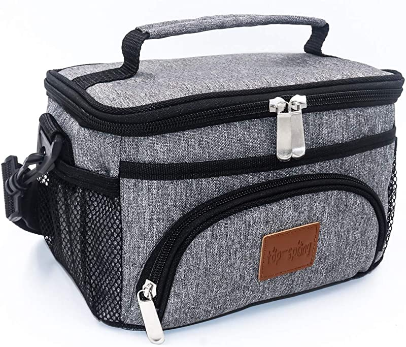 TOP SPRING Insulated Lunch Bag Small Size 4L Lightweight Portable Lunch Box For School Office Picnic Outing Heat Cold Insulation Waterproof Leak Proof Lining Grey