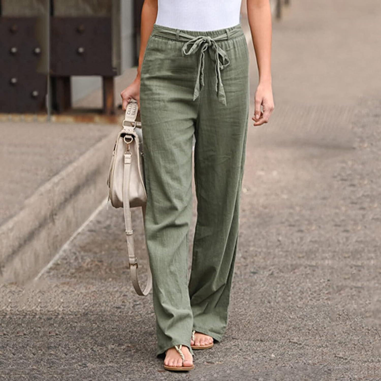 Mlide Women's Summer Comfy Floral Print Capri Pants Cotton Linen Casual Pants Wide Leg Pants Loose Pocket Baggy Pants