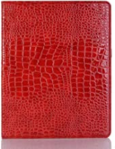 iPad Pro 12.9 Case, DMaos Crocodile Line Leather Stand Folio Case Cover for iPad Pro 12.9 inch (2017 and 2015 Release), Auto Sleep/Wake Smart Cover, Document Card Holder - Red