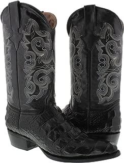 Texas Legacy - Men's Black Crocodile Back Cut Print Leather Cowboy Boots J Toe