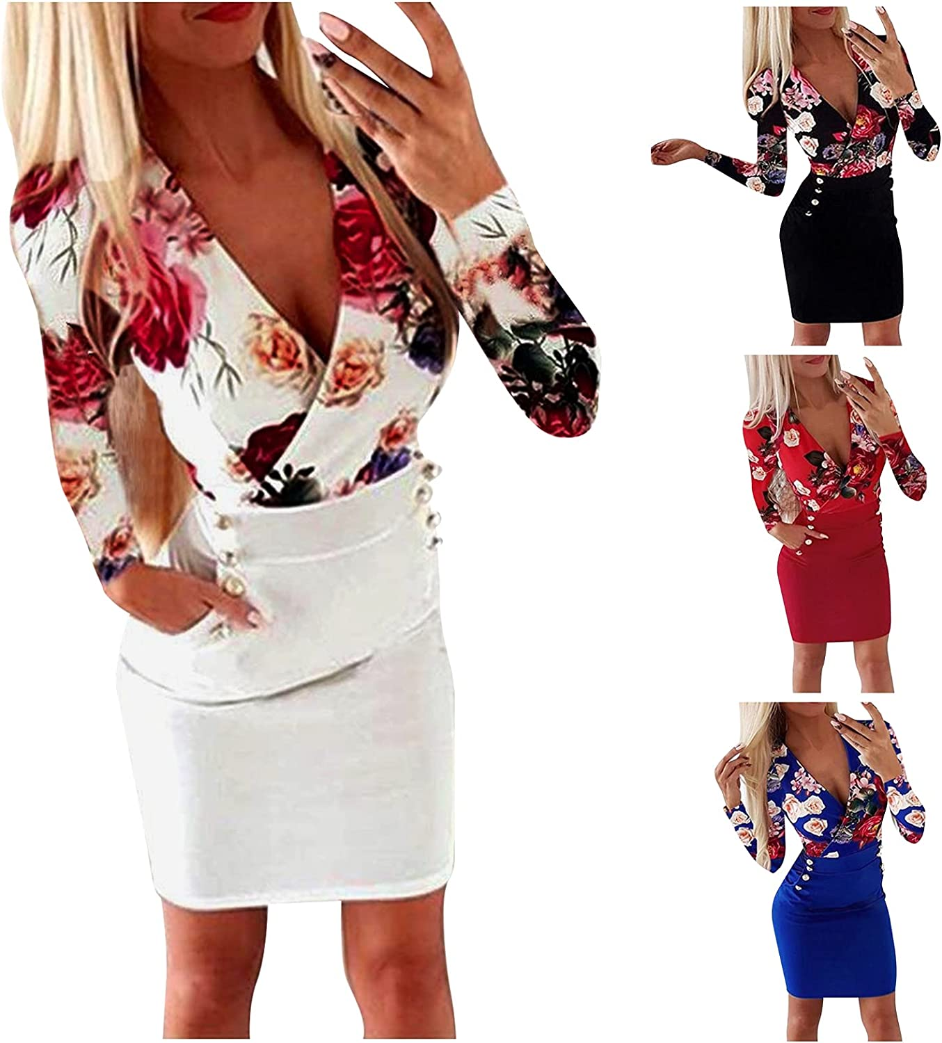 Mid Calf Pink Dress for Women Sexy Lantern Sleeve Low Cut Bustier Elegant Floral Work Party Club