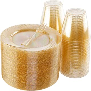 BUCLA 100pack Gold Glitter Plastic Plates 6.5inch -100pack Plastic Dessert Forks 5inch-100Pack Disposable 9oz Gold Glitter Plastic Cups- Perfect for Weddings& Parties