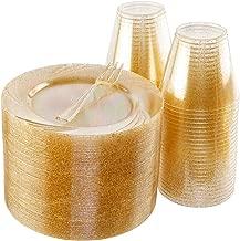 BUCLA 100pack Gold Glitter Plastic Plates 6.5inch -100pack Plastic Dessert Forks 5inch-100Pack Disposable 9oz Gold Glitter Plastic Cups- Perfect for Weddings& Parties