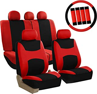 FH Group FB038114 Stylish Cloth Full Set Car Seat Covers w. Steering Wheel Cover & Seat Belt Pads, Red/Black- Fit Most Car, Truck, SUV, or Van