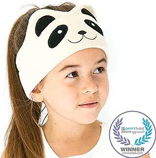 CozyPhones Kids Headphones Volume Limited with Ultra-Thin Speakers Soft Fleece Headband - Perfect Children's Earphones for Home and Travel - Ivory Panda