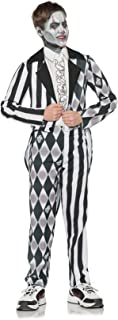 Kid's Creepy Clown Horror Tuxedo Scary Costume Kit for Cosplay, Dress Up and Halloween - Harlequin Tuxedo