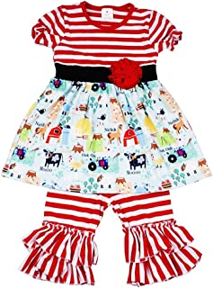 f5d91e27 Baby Girl Summer Animal Outfits - Cute Red Stripe Farm Print Boutique  Clothing for Little Girls