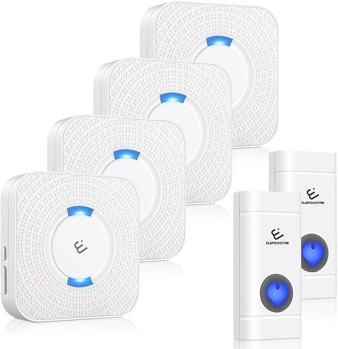 49 opinioni per Campanello Senza Fili, ELEPOWSTAR IP55 Impermeabile Wireless Doorbell, 58
