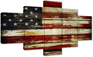 AMEMNY American Flag Canvas Painting 5 Panels Wall Art About Independence Day Prints on Canvas Modern Artwork Posters and Prints Framed Ready to Hang (70''W x 40''H, Artwork-05)
