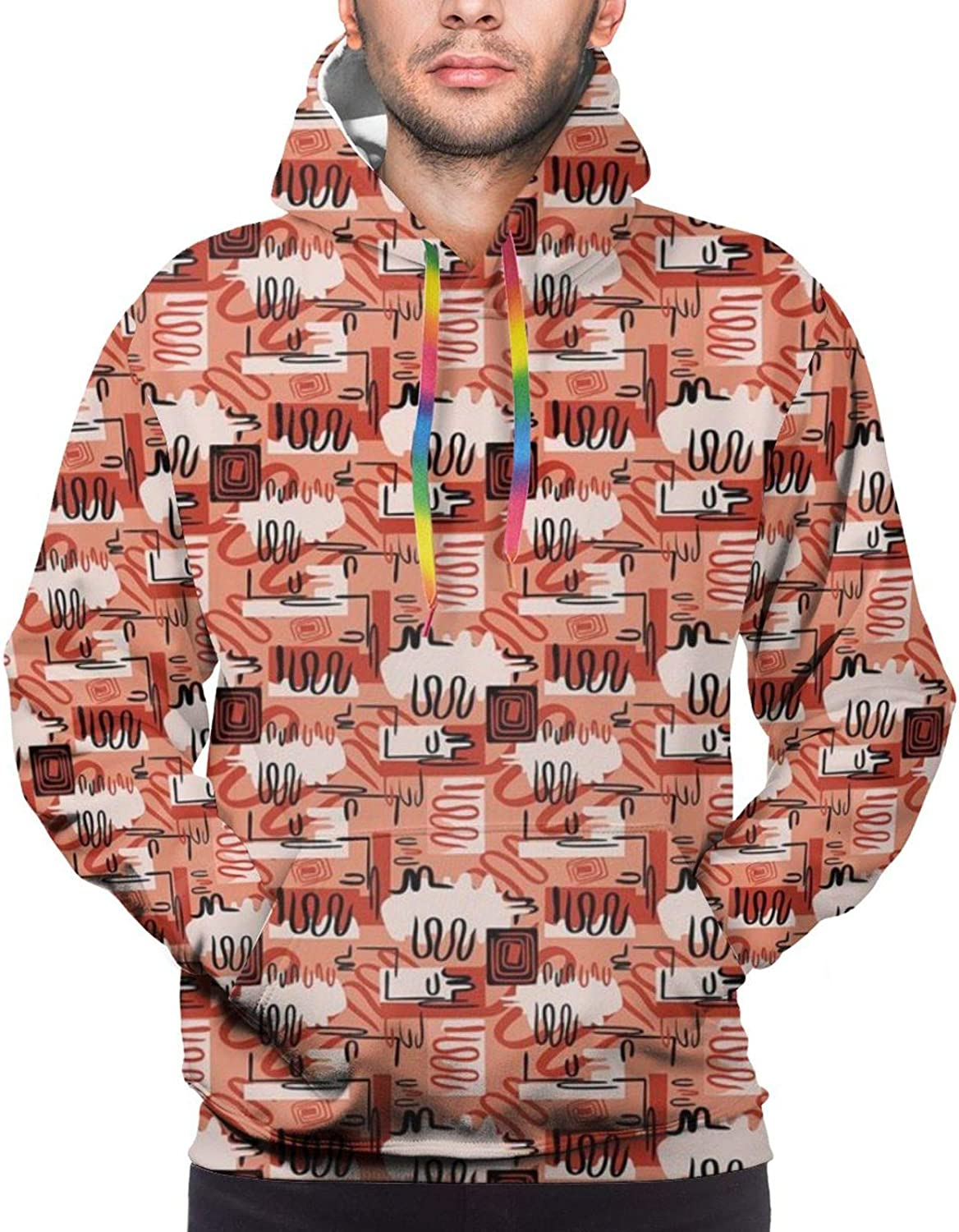 Men's Hoodies Sweatshirts,Abstract Art with Swirled Lines and Hand Drawn Curves Geometric Illustration,Small