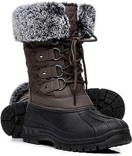 Women's Knit Snow Duck Boots, Faux Fur Waterproof Winter...