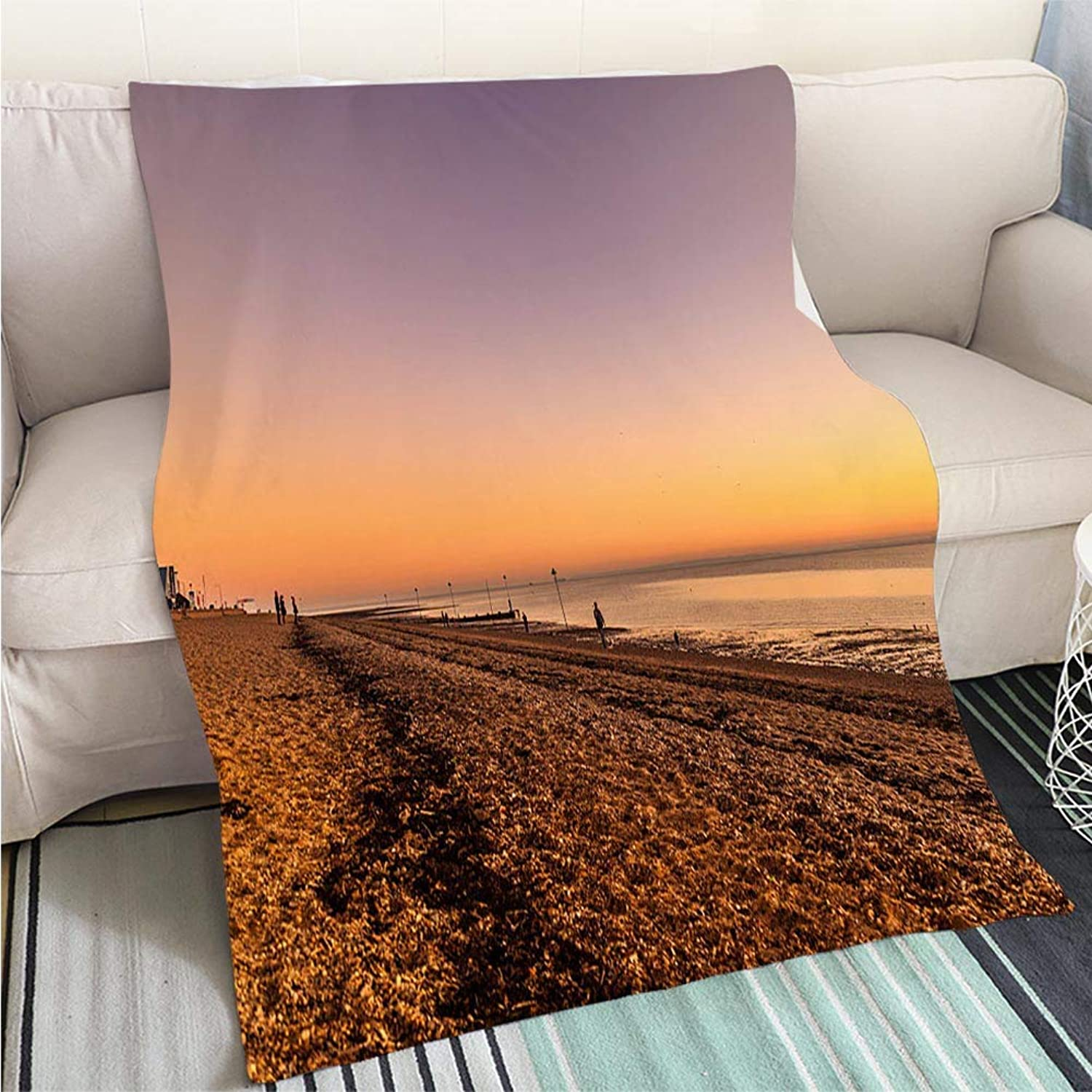 Comforter Multicolor Bed or Couch Southend on Sea Beach at Sunset Hypoallergenic Blanket for Bed Couch Chair