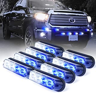 Xprite White & Blue 4 LED 4 Watt Emergency Vehicle Waterproof Surface Mount Deck Dash Grille Strobe Light Warning Police Light Head with Clear Lens - 8 Pack