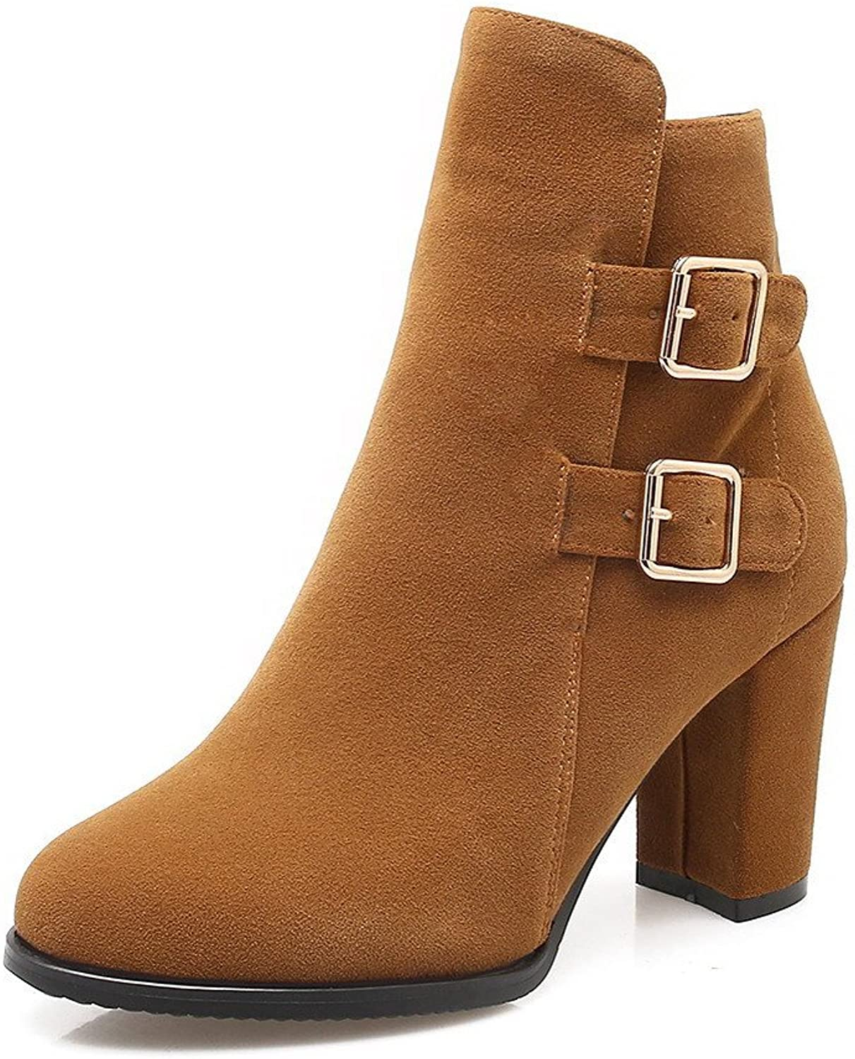 AllhqFashion Women's Buckle Round Closed Toe High-Heels Imitated Suede Low-top Boots
