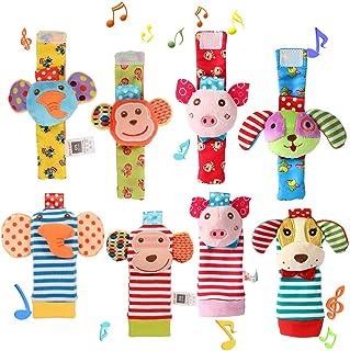 Twister.CK 8 Piezas para bebé sonajero, muñequeras para bebé y Juego de Calcetines para Buscar pies, Juguete de Animal de Peluche Suave con Mono, Elefante, Cachorro y alcancía