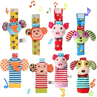 ThinkMax Baby Wrist Rattles, 8 Pcs Soft Animal Wrist Rattles and Foot Finders SockSet - Elephant, Monkey, Piggy and Puppy
