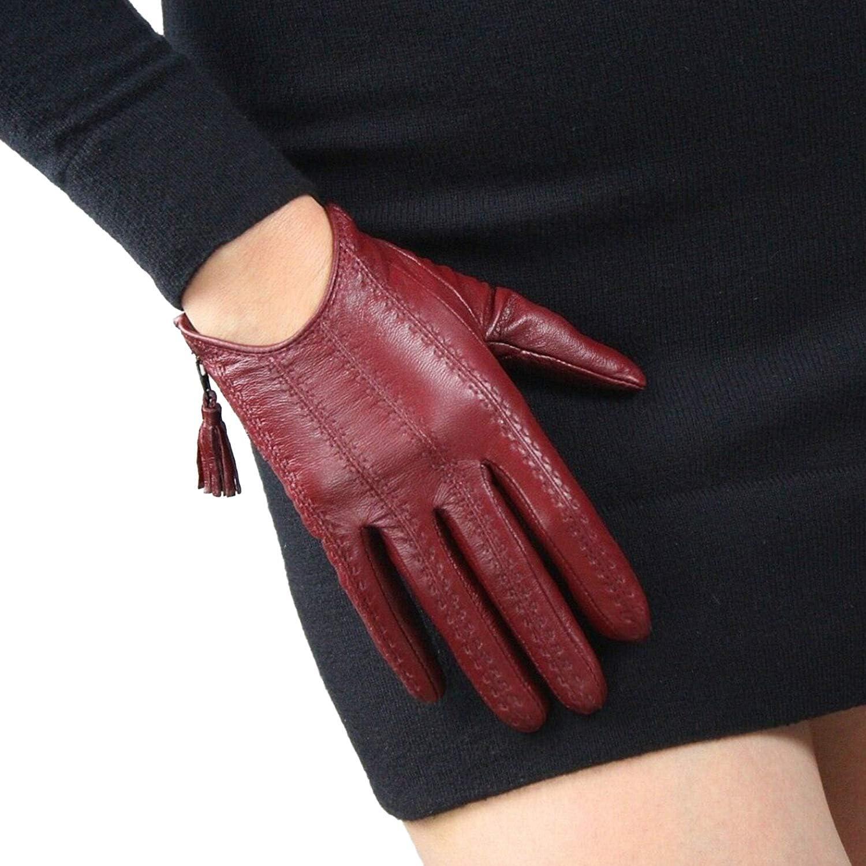 DooWay Women Short Real Leather Driving Gloves Imported Goatskin Touchscreen Warm Tassel Zipper Size L