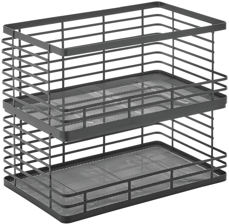 Buy Mdesign Modern Metal Wire Household Stackable Storage Organizer Bin Basket With Open Front For Kitchen Cabinets Pantry Closets Bathrooms Entryway Garage 7 5 High 2 Pack Matte Black Online In Indonesia B08s7g9fcx
