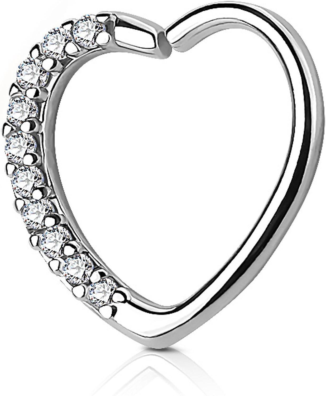 Heart with CZ Gems Cartilage Tragus Daith Piercing Earring (Right Ear) - 16G 3/8