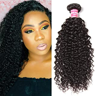 Jolia Hair Malaysian Virgin Hair Curly Remy Human Hair One Bundle Weaves 100% Unprocessed Kinky Curly Hair Extensions Natural Color (18 inch)