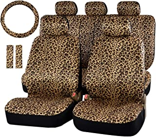 CARWORD Universal Luxury Leopard Print Car Seat Cover Nonslip and Breathable Van Protector with Seat Belt Pads Steering Wheel