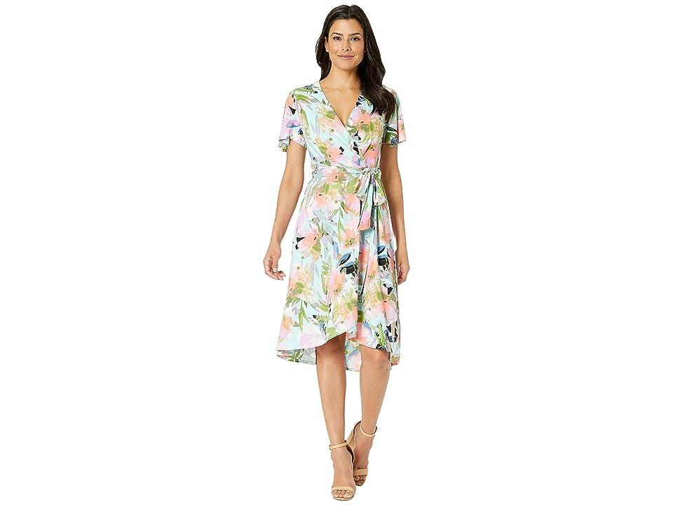 London Times Wrap Dress w/ Flutter Sleeveless (Blue/Iris) Women