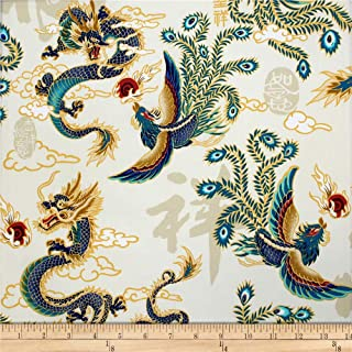 Trans-Pacific Textiles Asian Legend of the Dragon and Phoenix Beige Fabric Fabric by the Yard