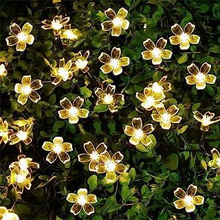 Epyz Solar Sakura Flower String Lights, 19.5ft 30 LED Blossom Flower String Light Solar Power for Outdoor Garden,Lawn,Pati...