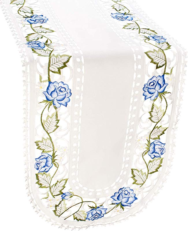 Linens Art And Things Embroidered Victorian Blue Rose Flower Table Runner Dresser Scarf 16 X 54 Inch Oval Shaped Machine Washable