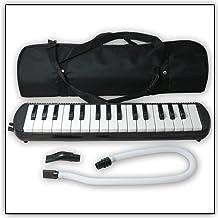 Tuyama® TMD Melodica Negro Con boquilla y manguera de soplado, Incluye una bolsa para transporte (32 teclas)