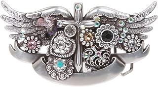 Sterling Silver Winged Dagger Rhinestone Buckle