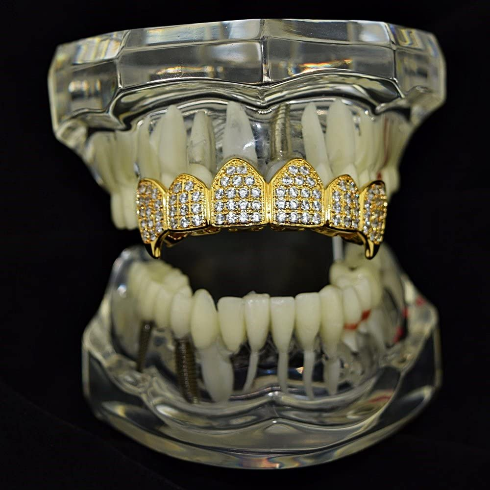 Bling Cartel 18K Gold Plated Fangs CZ Top Grillz Upper Row Cubic Zirconia Micro Pave Teeth Iced Vampire Grills