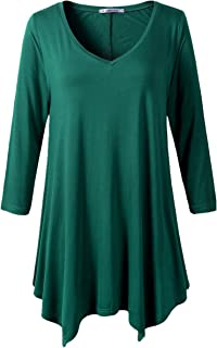 Womens Plus Size 3/4 Sleeve Loose-fit T Shirt for Leggings Tunic Top