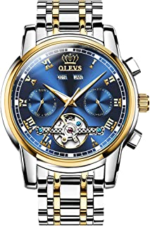 Automatic Mechanical Men Watch,Day-Date-Month-and-Year Automatic Watch Men,Fashion Stainless Steel Watch Green&Blue&Black Face
