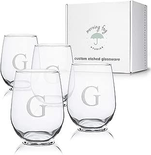Monogrammed Stemless Wine Glasses Set of 4, Barware Glassware with Sandblasted Monograms, 17 oz Capacity Each (G)