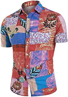 Men's Floral Casual Button Short Sleeve Hawaiian Shirt Beach Vacation Shirt Shenme (Size : 4XL)